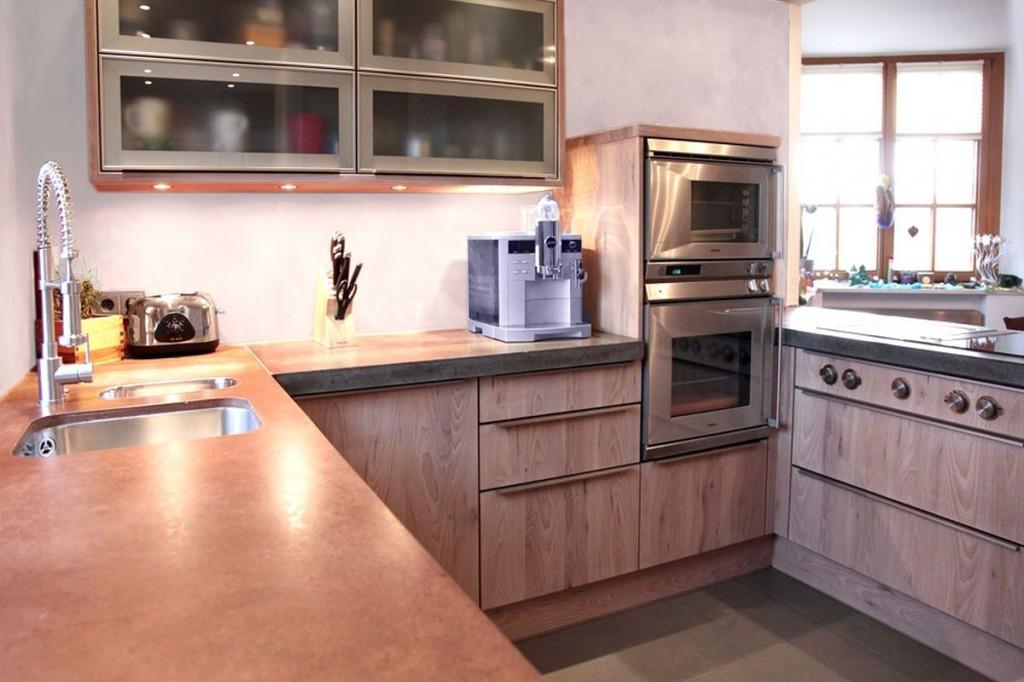 küche rüster weiß gewachst, beton-arbeitsplatte, edelstahl-griffe ... - Küche Backofen